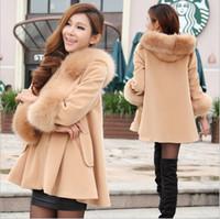 Femme de laine Manteaux d'hiver 2015 femmes coréennes col fourrure Hoodies A-ligne Neuf Points Laine Sleeve Blend Coat Cape manteaux d'hiver Châle Poncho