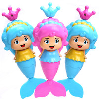 bath toys mermaid - 8pcs box Cute mermaid pull toys Infants baby kids the little mermaid pull toys water play bath beach toys