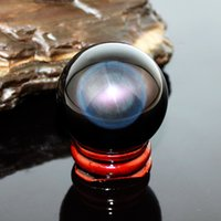 Wholesale 40mm Stand Asian Rare Natural Quartz Black Magic Crystal Healing Ball Sphere