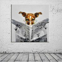 Wholesale Handmade Wall Painting Read the Newspaper Dog Paintings Picture Canvas Abstract Home Decor Animals Oil Painting Hang Pictures