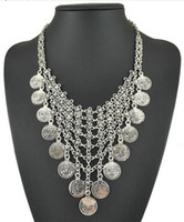 antique metal plate - 2015 Statement Necklaces Bohemian Gypsy style Antique silver plated metal carving coin flower long tassel Necklaces for women