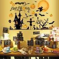 art holiday packages - Witch broom pumpkin ghost bat happy holloween night party decoration holiday wall art graphics decal decor holloween wall sticker