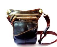 fanny packs - Men outdoor genuine leather leg bags waist pack bag Men running belt bicycle and motorcycle Money Belt Fanny pack