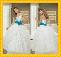 Wholesale 2016 Chic Halter Strap Beaded Organza Ball Gown Prom Dresses Custom Made White Quinceanera Debutante Dance Dresses with Turquoise Flower