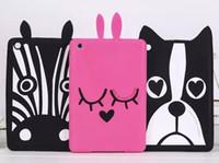 achat en gros de mini-cas zebra ipad-3D Cartoon Dog Zèbre Rubbit Soft Silicon Bunny Zebra Français Bull chien Design Case Pour Apple iPad Mini123 silicone Housse Etui