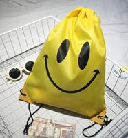 Wholesale DHL Free Emoji Gym Bag Travel Backpack Hiking Shoulder Bag Fashion Portable Swimming Package Smile Face Storage Bag
