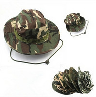 fishing hat - outdoor hat camouflage military jungle hats Camo Fisherman Hats With Wide Brim Sun Fishing Bucket Hat Camping Hunting Hat LJJD2795