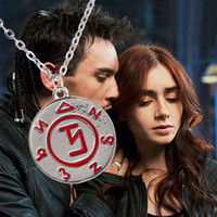 rune - City of Bones necklaces The Mortal Instruments red Rune charm tag pendant necklace unisex link chain statement movie jewelry