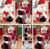 Wholesale 2015 Lovely Christmas Wine Bottle cute Cover Bag Xmas Decor Doll Gifts Santa Claus Snowman high quality