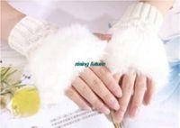 Wholesale Korea Gloves Style - Wholesale-C008 1 Pair Korean Style Winter Female Cute Plush Lattice Warm Half Mittens Mitten South Korea Winter Finger Gloves