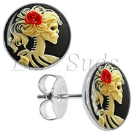 Wholesale Surgical Steel Skeleton Cameo Ear Stud Earrings Cheater Plugs Diameter mm g ZCST