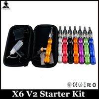 achat en gros de x6 cig-Cigarette électronique X6 V2 Starter Kits Zipper Case 1300mAh Variable Voltage X6 Batterie 360 Rotation V2 Atomiseur Multicolore X6 V2 E Cig Kit