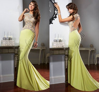 Cheap 2015 Mermaid Backless Evening Dresses Sheer Lace Crytsals Beaded Capped Sleeves Prom Dresses Chiffon Long Length Sexy Evening Gowns