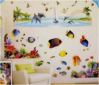flounder fish - Colorful D Flounder vinyl Removable Wall Stickers For Bathroom Fish Sticker home decorations kids room
