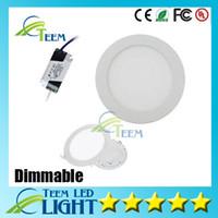 achat en gros de led panel light-Dimmable Round Led Light Panel SMD 2835 3W 9W 12W 15W 18W 21W 25W 110-240V plafond Lampe LED Encastré bas SMD2835 downlight + pilote