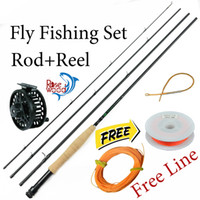 rod and reel - 2015 New fly fishing rod and reel set CNC fly reel m carbon firber rods free backing leader line flyfishing combo