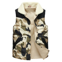 Wholesale Collared Military Vest - Fall-2015 Mens Winter Thick Warm Lamb Fur Collar Military Camouflage Cotton Vest Men Padded Gilet Jacket Outdoor Men's Vests