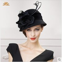 church hats fashion - 2015 Church Hats Fashion Women Hats Winter Handmade Flowers Stingy Brim Hats Wedding Hat Party Wedding Party Accessories