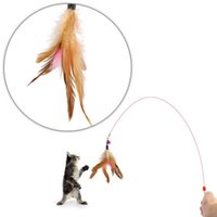 Wholesale Pet toy Cute Design Steel Wire Feather Funny Teaser Wand Plastic Toy interactive toy for cats Color Multi Products For pet