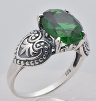 Wholesale Amazing real sterling silver natural emerald ring Ms Noble wedding engagement rings