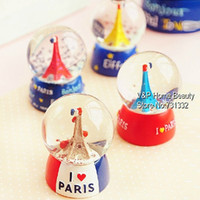 Wholesale 6 Crystal Glass ball Decorative globe Eiffel tower souvenir new year gift favor Vintage Novelty household Violetta