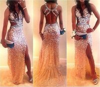 purple pink mermaid prom dresses - Cheap Prom Dresses Mermaid Pink Sequined Backless Sexy V Neck Dresses Party Evening Sleeveless Sweep Train Beaded Prom Gowns Split Side