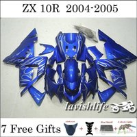 Wholesale Glossy Motorcycle Fairing Kit For Kawasaki Ninja ZX10R Compression Racing Cowling Beautiful Blue Flame Style Gifts