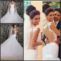 best bridal corset - Best Selling Lace Trian Wedding Dresses Scoop Neck Mermaid Bride Dress Bodice Corset See through Vestido De Casamento Bridal Gowns SHJ