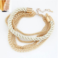 Wholesale new colors Korean Fashion Popular Low key Luxurious Metal Chain Braided rope Multilayer bracelet Anklets for women