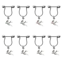 Wholesale 4Colors Fashion Cute Animal Swallow Nipple Piercing Bar Piercing L Surgical Steel Body Jewelry Piercing Helix