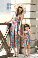 Sets best kids beaches - Best Price Summer Fashion Beach Dresses For Mother and Daughter Bohermia Style Dress Parent Child Clothes Floral Kids Family Dresses