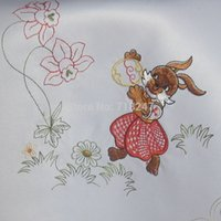 Wholesale New for Easter Embroidery Table Cloth Topper Polyester Satin Embroidered Rabbit Eggs Ostern Tablecloth Party Cover Overlays