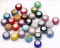 Wholesale Fashion Silver Pandora European style New Resin Rhinestone Crystal Charm Big Hole Beads Core Loose Beads Fit DIY Braceles