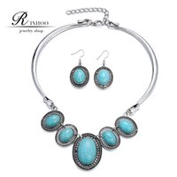 Wholesale RINHOO New Natural Turquoise Oval Stone Jewelry Sets Women Pattern Flower Retro Necklace Bracelet and Earrings Gifts