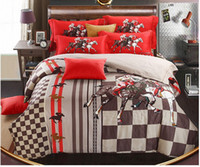 bedroom linen sets - Luxury egyptian cotton horse bedding set brand sheets red khaki king queen size quilt duvet cover bedspreads bedroom linen spread