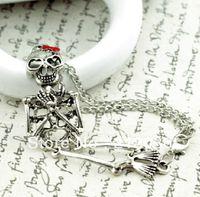 Cheap Fashion Vintage Bronze Skull Skeleton Movable Joints CharmGood Luck Bracelet &Bangle For Women DIY Jewelry 10Pcs N421