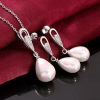 genuine diamond earrings - Earrings necklace set Genuine Pearl k Gold Lady Girls Women Dangle s051 gift box free New Fashion Jewelry