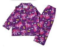 Cheap Baby Girls My little pony Flannel Pajamas Cartoon Set PJS Kids Long Sleeve Top + Pant Clothing suit Pyjamas Sleepwear