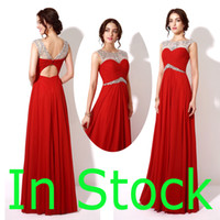 Wholesale In Stock Red Chiffon Formal Evening Prom Dresses A line Beads Backless Sheer Neck Long Bridesmaid Party Gowns Real Image