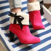 Wholesale Women shoes high heeled fashion thin heel boots warm winter sweet bow ankle boots Big size