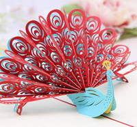 pop up greeting card - 10pcs Hollow Peacock Handmade Kirigami Origami D Pop UP Greeting Cards Invitation Postcard For Birthday Wedding Party Gift