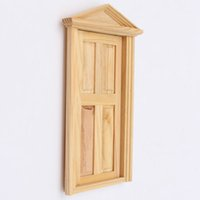 Wholesale Excellent Workmanship Dollhouse DIY Mini Miniature Panel Wooden Exterior Door Steeple Top Design
