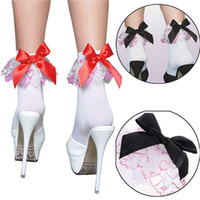 ankle socks black - 6pairs Hot Womens Ladies Sexy Black Gothic Lace Bow Butterfly Knot Ruffle Frilly Ankle Socks Short Anklets Free Ship