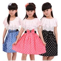 teen clothes - Girls big bow dots A line dress lace cape collar clothing elegant princess cute kids teen toddler prescholler outerwear