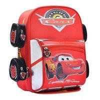 denim fabric - 2015 cars lightening toys double shoulder baby children kids kindergarten boys cartoon backpack school bag on sale