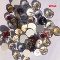 Wholesale MM clock design round Cabochons mixed pictures flat back Glass Cabochons For Jewel DIY