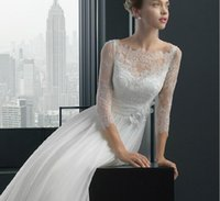 wedding dresses long sleeved - The new wedding dresses word shoulder cultivate one s morality a line skirt wedding gown elegant lace bag shoulder long sleeved dress small