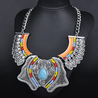 alloy metal sculptures - European and American Retro national wind necklace Europe and exaggerated big metal sculpture leaves clavicle chain
