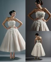 fashion lace ribbon - Tea Length Strapless Ribbon Wedding Dresses Appliques Hand Made Fashion Justin Alexander Back Buttons Bridal Gowns