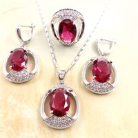 african words - Ladies CZ Colors Zircon Qualities Red Word Sapphire Jewelry Sets Silver Crystal Pendants New Stone Ring Female Earring